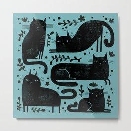 BLACK CAT PATTERN Metal Print