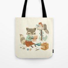 Raccoon Post Tote Bag