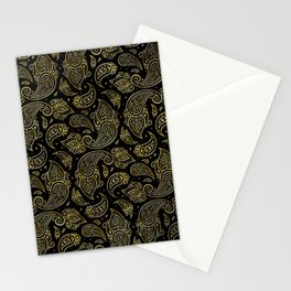 Golden Embossed Paisley pattern on black Stationery Cards