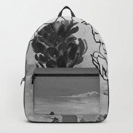 Alpinia purpurata – Red Ginger Flower - Black and White Greyscale Backpack