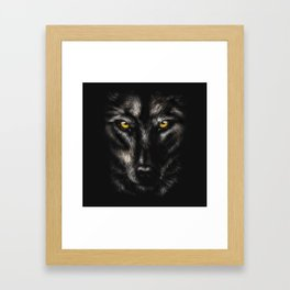hand-drawing portrait of a black wolf on a black background Framed Art Print