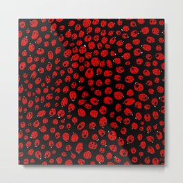 Ladybugs (Red on Black Variant) Metal Print