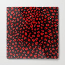 Ladybugs (Red on Black Variant) Metal Print