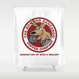 Boxing Kangaroo Coffee Company Shower Curtain