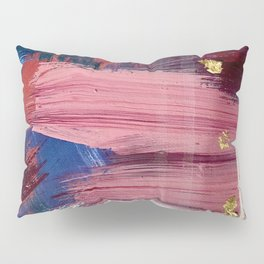 Los Angeles [3]: A vibrant, abstract piece in reds and blues and gold by Alyssa Hamilton Art Pillow Sham