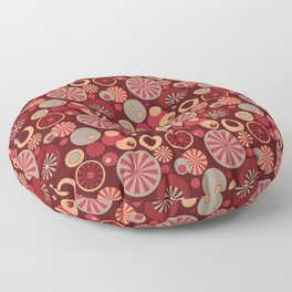 Circle Frenzy - Red Floor Pillow