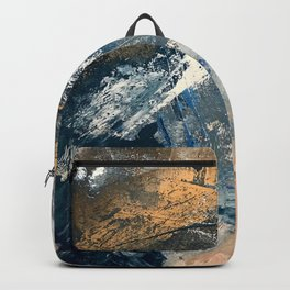 Wander [3]: a vibrant, colorful abstract in blues, pink, white, and gold Backpack