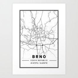 Brno Light City Map Art Print