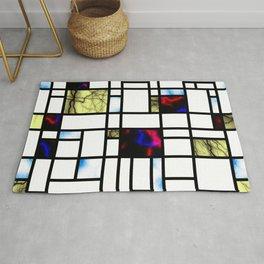 Plasma and Sparks Modern Art Grid Pattern Rug