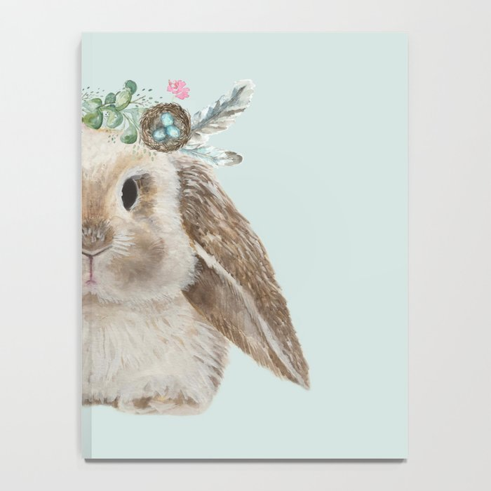 Spring Bunny with Floral Crown Notebook