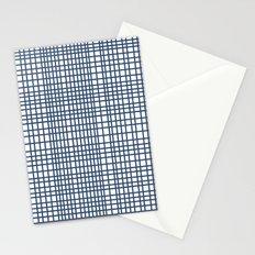Weave Navy Stationery Cards