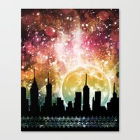 moonrise Canvas Prints featuring Moonrise by Jenndalyn