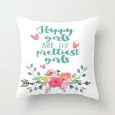 Happy Girls Throw Pillow