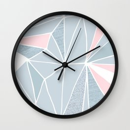 Cool blue/grey and pink geometric prism pattern Wall Clock