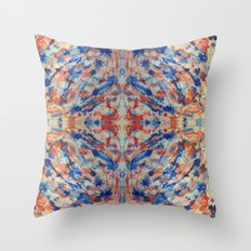 Blue and Peach Mystical 8665 Throw Pillow