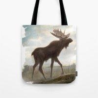 moose Tote Bags featuring Moose by Alex Perkins