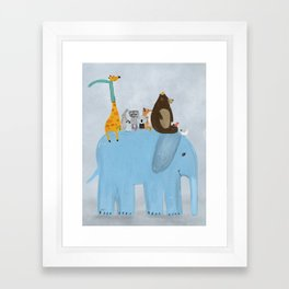 the big blue elephant Framed Art Print