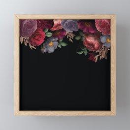 Vintage & Shabby Chic - Night Antique Redoute Roses Frame On Black Framed Mini Art Print