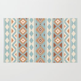 Aztec Essence Ptn IIIb Blue Crm Terracottas Rug