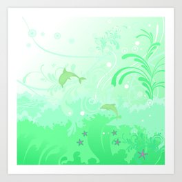 Dolphins Swimming Art Print