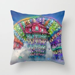 The Rainbowhouse ! Throw Pillow