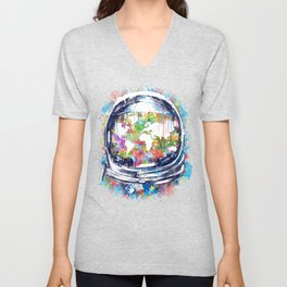 astronaut world map colorful Unisex V-Neck