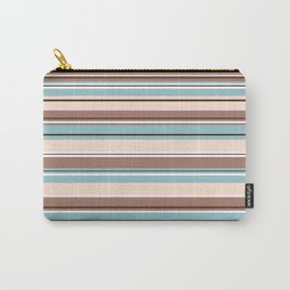 Striped Design Browns Blue Cream & White Carry-All Pouch