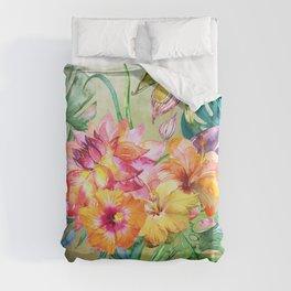 Tropical Hibiscus Garden Duvet Cover