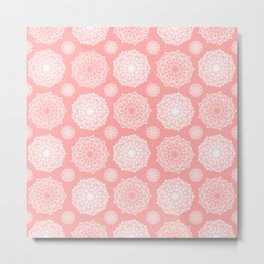White Floral Mandala Pattern on Coral - Mix & Match with Simplicity of Life Metal Print