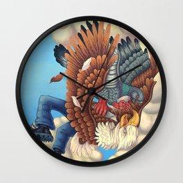 Bird Fight Wall Clock
