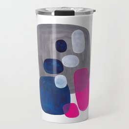 Mid Century Modern Minimalist Colorful Pop Art Grey Navy Blue Neon Pink Color Blobs Ovals Travel Mug