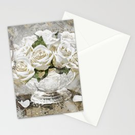 Shabby Cottage Roses Glitter Stationery Cards