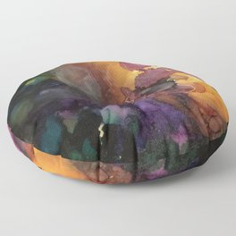 Abstract in Purple and Orange Floor Pillow