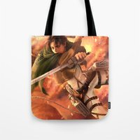 levi Tote Bags featuring Captain Levi by Nikittysan