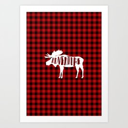 Red Buffalo Plaid Moose ADVENTURE typography Art Print