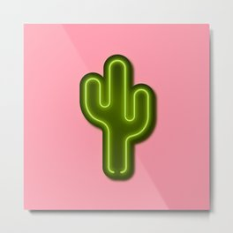 Neon Cactus 3D Hipster Art Metal Print