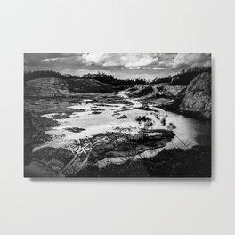 Quarry After Rain Waldhuegel Rheine Germany bw Metal Print