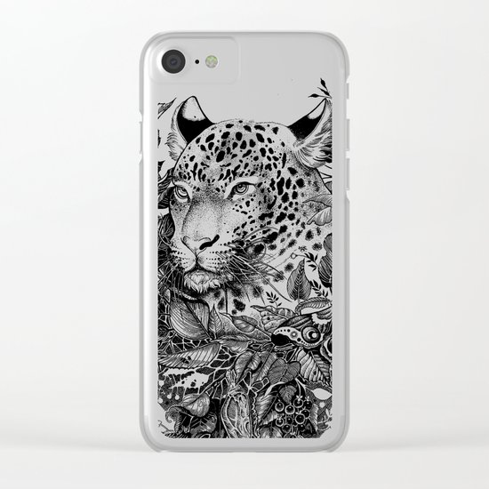 black and white jungle leopard Clear iPhone Case