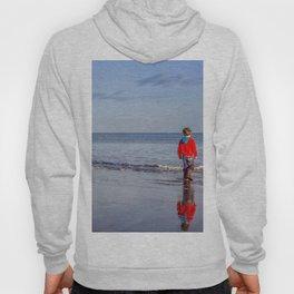 Red Boy on an Autumn Beach Hoody