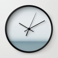aelwen Wall Clocks featuring Horizon by Bella Blue Photography