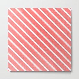 Watermelon Pink Diagonal Stripes Metal Print