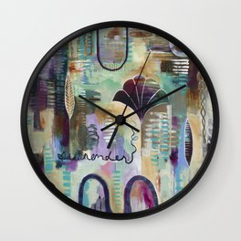 """""""Surrender Grow"""" Original Painting by Flora Bowley Wall Clock"""