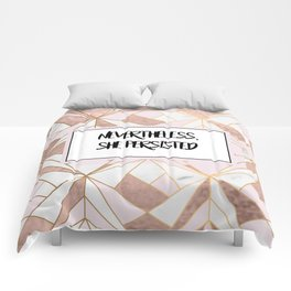 Nevertheless she persisted - rose gold marble geo Comforters