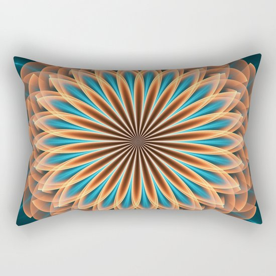 Floral mandala in orange and blue Rectangular Pillow