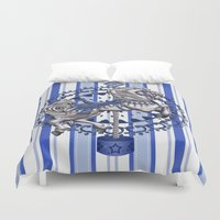 pony Duvet Covers featuring Pony Blue by The Victorian Fantasy