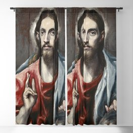 "El Greco (Domenikos Theotokopoulos) ""Christ Blessing ('The Saviour of the World')"" Blackout Curtain"