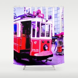 Red tram. Shower Curtain