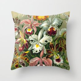 Victorian Orchids Floral Print-Ernst Haeckel Throw Pillow