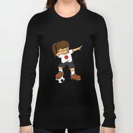 Japan Soccer Ball Dabbing Girl Japanese Football 2018 Long Sleeve T-shirt