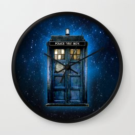 Beautiful tardis with yellow stained glass windows Wall Clock